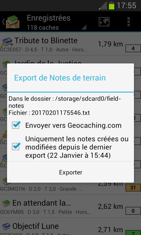 c:geo export